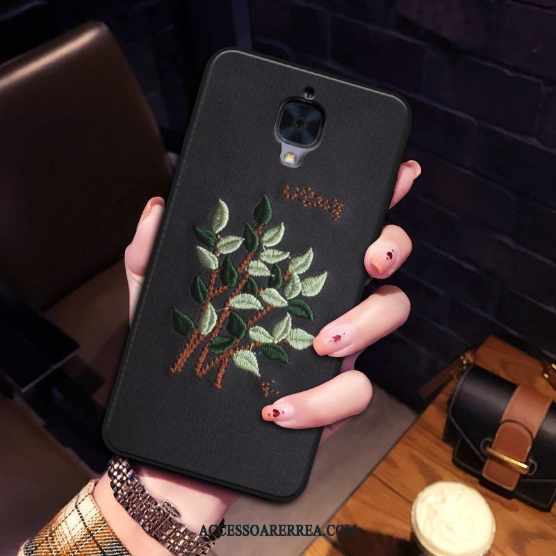 Oneplus 3 Skal Fodral Broderi Skydd All Inclusive Flanell Mjuk