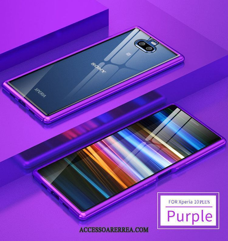 Sony Xperia 10 Plus Skal Frame Bicolor Purpur Metall Silke