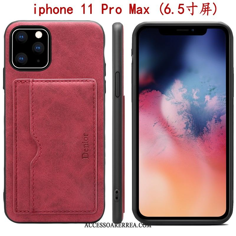 iPhone 11 Pro Max Skal Fodral Support All Inclusive Skydd Röd Kort
